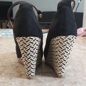 Mossimo Supply Co. Shoes - Mossimo black tribal print wedges